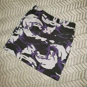 Michael Kors Purple Camo Floral Mini Skirt.